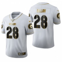 Packers AJ Dillon blanc NFL Draft Golden Edition Maillot