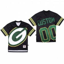 Green Bay Packers 00 personnalisé Big Face Maillot - Noir