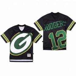 Green Bay Packers 12 Aaron Rodgers Big Face Maillot - Noir