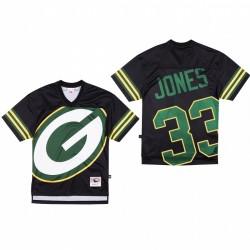 Green Bay Packers 33 Aaron Jones Big Face Maillot - Noir