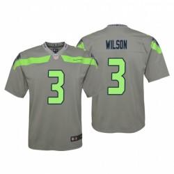 Russell Wilson Jeunesse 3 Seattle Seahawks Inversé Jeu Gris Maillot