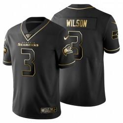 Seattle Seahawks Hommes 3 Russell Wilson Noir métallisé Or Maillot 100 Saison