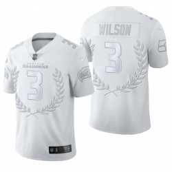 Russell Wilson Seattle Seahawks Blanc Platinum Limited Maillot Homme