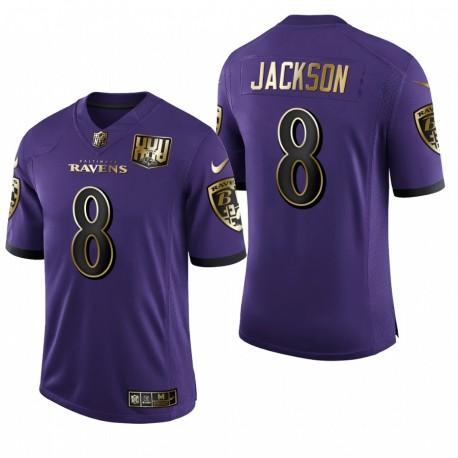 Baltimore Ravens Lamar Jackson Violet 25e anniversaire vitesse de la machine d'or limitée Maillot