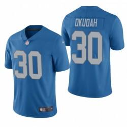 Lions 30 Jeff Okudah Blue NFL Profil Vapeur Limited Maillot