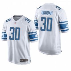 Detroit Lions 30 Jeff Okudah blanc NFL Jeu Maillot