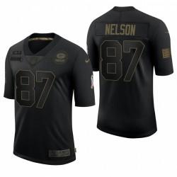 Homme Green Bay Packers Jordy Nelson Noir Salute de Salute au Service Retiré Limited Maillot