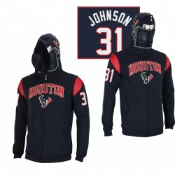 Houston Texans 31 David Johnson Black Casque masqué Sweat à capuche à glissière masquée
