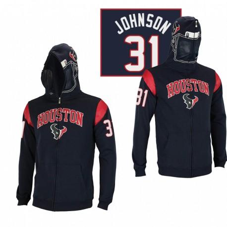 Houston Texans 31 David Johnson Black Casque masqué Sweat à capuche à glissière masquée