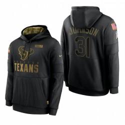 Houston Texans de Hommes David Johnson Noir Salut à Serrure Sideline Performance Pull Sweat à capuche
