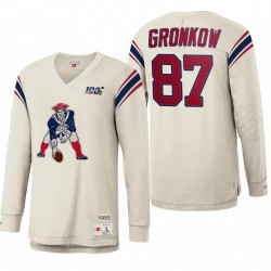 Patriots Rob Gronkowski White NFL 100 Tee shirt à manches longues d'inspiration Vintage