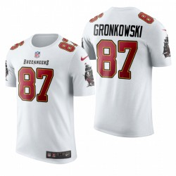 Buccaneers Rob Gronkowski 87 Nom Blanc Numéro T-shirt