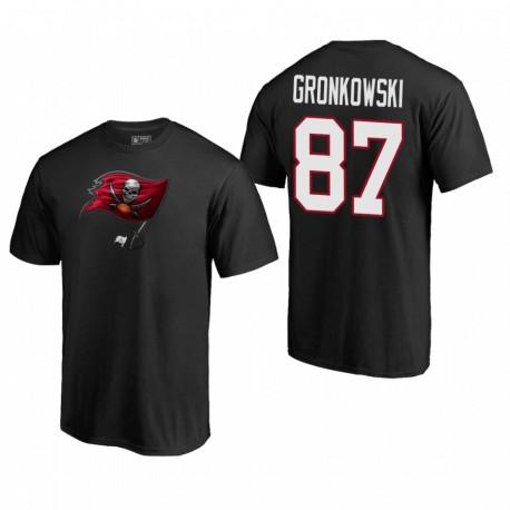 Tampa Bay Buccaneers 87 Rob Gronkowski Logo primaire T-shirt Mascot - Noir