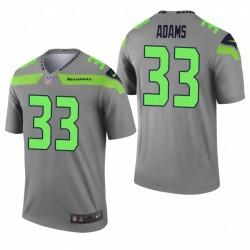Seattle Seahawks 33 Jamal Adams Grey Verti légende Maillot