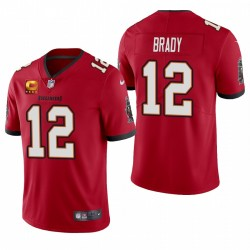 Men's Tom Brady Tampa Bay Buccaneers Red Capitaine Patch Vapor Limited Maillot