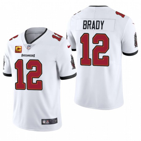 Men's Tom Brady Tampa Bay Buccaneers Blanc Capitaine Patch Vapor Limited Maillot