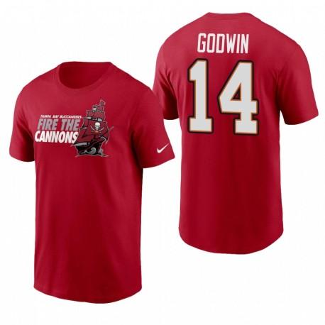 Tampa Bay Buccaneers Chris Godwin Red Fire Le T-shirt Nom et numéro des Cannons