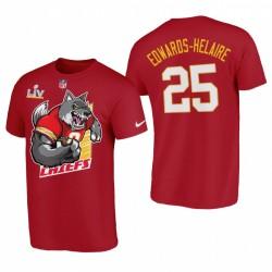 Clyde Edwards-Helaire Kansas City Chiefs Champions AFC T-shirt graphique de bande dessinée rouge