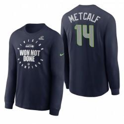 DK Metcalf Seattle Seahawks NFC West Division Champions de la Navy Trophy Collection T-shirt à manches longues