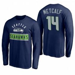 SEATTLE Seahawks 14 DK Metcalf Navy Arc Knockout T-shirt à manches longues
