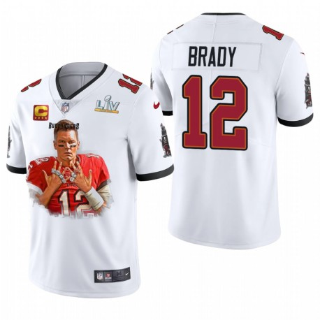 Tampa Bay Buccaneers Tom Brady Super Bowl LV Champions 7 Anneaux Vapeur Limited Maillot - Blanc