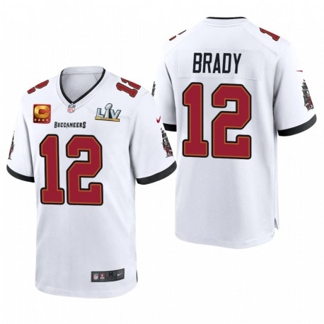 Tampa Bay Buccaneers Tom Brady Super Bowl LV Capitaine Jeu Patch Maillot - Blanc
