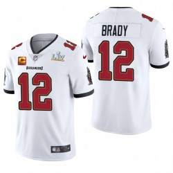 Tom Brady Buccaneers Super Bowl LV Blanc Capitaine Patch Vapor Limited Maillot