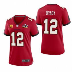 Buccaneers Femmes Tom Brady Super Bowl LV Capitaine Jeu Patch Maillot - Rouge