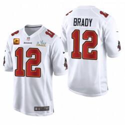 Tom Brady Buccaneers Super Bowl LV Blanc Capitaine Patch Jeu Fashion Maillot