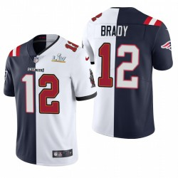 Tom Brady Tampa Bay Buccaneers Super Bowl LV Champions Split Vapeur Limited Maillot - Navy Blanc