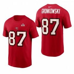 Rob Gronkowski Tampa Bay Buccaneers Super Bowl LV Nom de Nom Rouge LT LIT