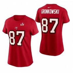 Femme Tampa Bay Buccaneers Rob Gronkowski Super Bowl LV Nom Nom Lié Numéro T-shirt - Rouge