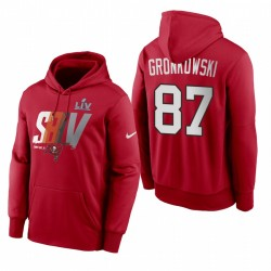 Tampa Bay Buccaneers Rob Gronkowski Red Super Bowl LV LOCKUP LOCKUP LOGO Sweat à capuche