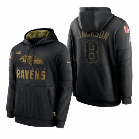 Homme Baltimore Ravens Lamar Jackson Noir SALUTE DE SERVICE STOCKING PRINCIPE Sweat à capuche