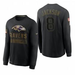 Baltimore Ravens Lamar Jackson Salute pour Service T-shirt à manches longues à manches longues - Noir