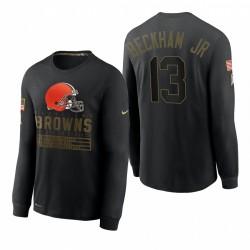 Cleveland Browns Odell Beckham Jr. Salut à Service T-shirt à manches longues à manches longues - Noir