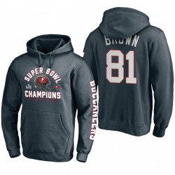 Tampa Bay Buccaneers Antonio Brown Charcoal Super Bowl LV Champions Pass Pass Pass Pull Sweat à capuche