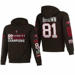 Tampa Bay Buccaneers Antonio Brown Charcoal Super Bowl LV Champions Nom Nom Numéro Sweat à capuche