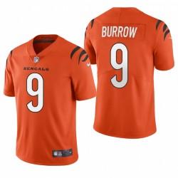 Joe Burrow Cincinnati Bengals Orange 2021 Vapeur Limited Maillot