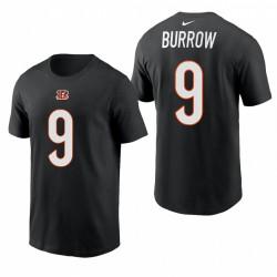 Cincinnati Bengals Joe Burrow Nom Numéro 2021 T-shirt - Noir
