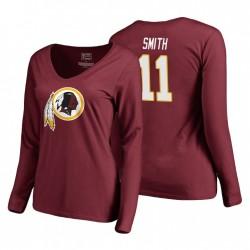 Femmes Washington Redskins Alex Smith 11 Bourgogne T-shirt à col V à manches longues à manches longues authentiques