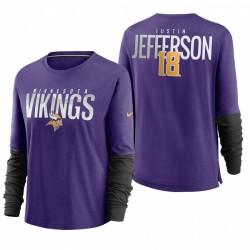 Femmes Minnesota Vikings Justin Jefferson City Mascot Respirez T-shirt à manches longues - Violet