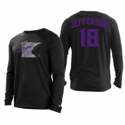 Vikings Minnesota 18 T-shirt à manches longues Justin Jefferson State - Noir