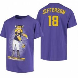 Minnesota Vikings 18 Justin Jefferson Dancing Viktor The Viking Mascotte T-shirt - Purple