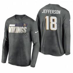 Minnesota Vikings 18 Justin Jefferson Gray Sideline Légende Légende Performance T-shirt à manches longues à manches longues