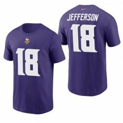 Minnesota Vikings Justin Jefferson Purple Team Player Numérique Numéro T-shirt