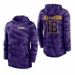 Justin Jefferson Minnesota Vikings Violet Sweet Sweat à capuche à capuche à capuche à capuche à capuche longue