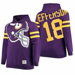 Justin Jefferson Minnesota Vikings Violet Gros Visage Historique Logo Hardece Pull Sweat à capuche