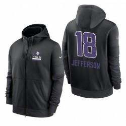 Justin Jefferson Minnesota Vikings Sideline Impact Lockup Performances Performance Full-Zip Sweat à capuche - Noir