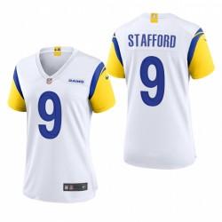 Women's Los Angeles Rams Matthew Stafford Blanc 2021 Jeu de retour moderne Maillot